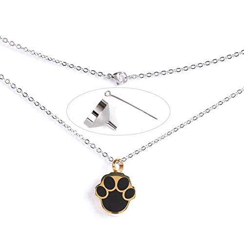 HEEPDD Kit Pendentif Collier Chat Chien, Empreinte d'or en Forme D'urne Commémorative Collier Urne...