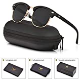 mens womens clubmaster polarized sunglasses uv 400 black lenses matte black frame 51mm,by luenx