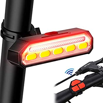 SONEE Smart Bike Taillight,Ultra Bright USB Rechargeable Bicycle Tail Light with Turn Signals Wireless Remote Control Vibration Sensor Auto On Off Safety Warning Bike Rear Lights