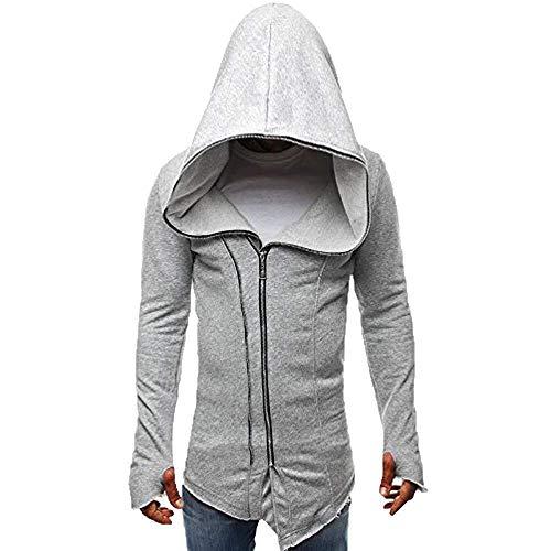 Herren Assassins Creed Umhang Mantel Jacke Wesentlich Sweatshirt Langarm Nähen Freizeit Hoodie Tops Business Kurzarm Casual Longsleeve Hemd (Color : Grau, Einheitsgröße : M)
