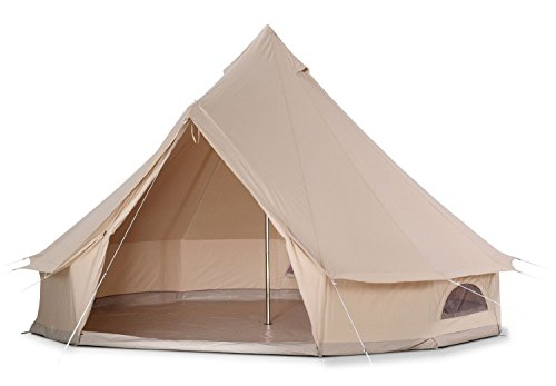 Cozy House Outdoor Waterproof Four Seasons Family Camping Cotton Canvas Bell Tent with Meshed Door and Windows (Diameter 3M)