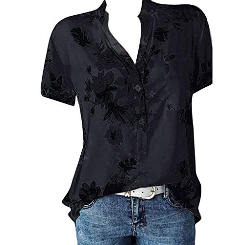 Meikosks Womens Plus Size Short Sleeve Blouses Floral Printing Pocket Tops Easy T Shirt