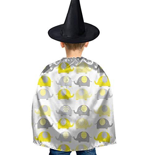 Amoyuan Unisex Kids Kerstmis Halloween Heks Mantel Met Hoed Geel Grijs Leuke Olifant Wizard Cape Fancy Jurk