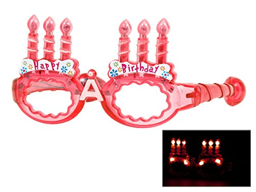 Alsino Blinkende LED Partybrille Happy Birthday Brille (rot)