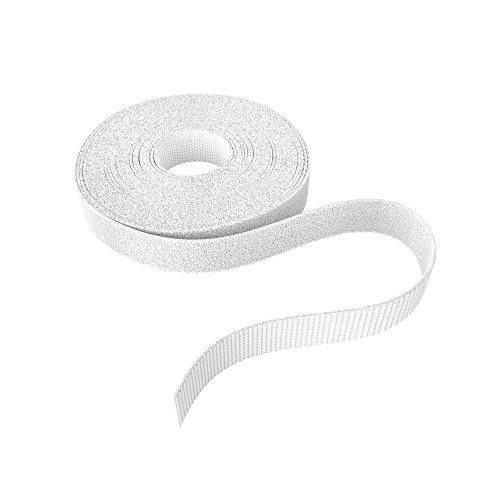 KabelDirekt – Klett Kabelbinder wiederverschließbar – 12,5mm x 5m (Rolle für Kabel, frei zuschneidbar & wiederverwendbar, weiß)