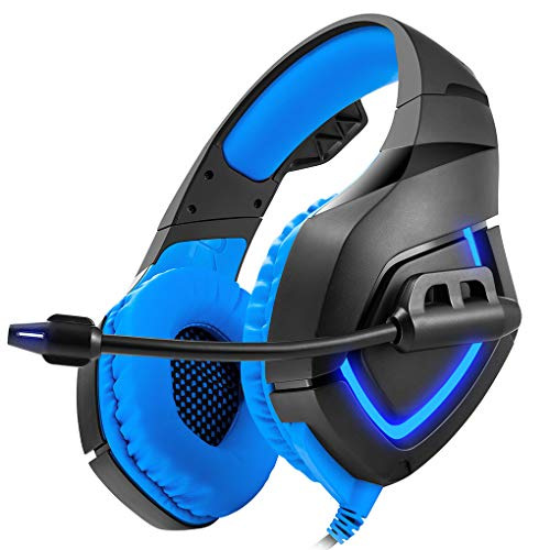 Gaming Headset for PS4, Noise Reduction Crystal Clarity 3.5Mm LED Professional Headphone with Mic for Xbox One PC Laptop Tablet Mac Smart Phone,Blue