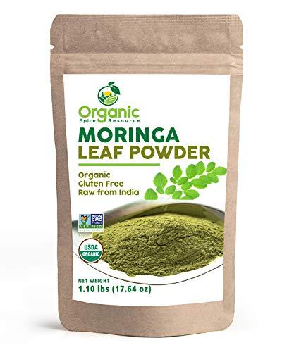 Organic Moringa Powder - 1.10 lbs (17.64 oz) | Lab Tested for Purity | Resealable Kraft Bag, Non-GMO, Moringa Olifera Powder - 100% Raw from India, by SHOPOSR