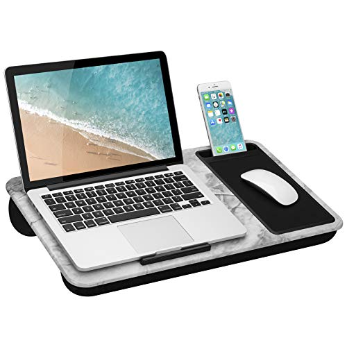 LapGear Home Office Lap Desk with Device Ledge, Mouse Pad, and Phone Holder - White Marble - Fits Up...