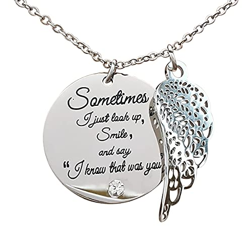 RYGHEWE Necklace for Women, New Angel Wing Love Necklace - It's Not Goodbye It's See You Again - Pendant Necklace Jewelry Halloween Christmas Annivesary Birthday Gift for Her (B)