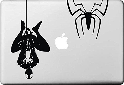 Vati Hojas desprendibles Creativo Spider-Man y Araña Calcomanía Etiqueta Piel Arte Negro para Apple Macbook Pro Aire Mac 13' 15' Pulgadas/Unibody 13' 15' Pulgadas Portátil