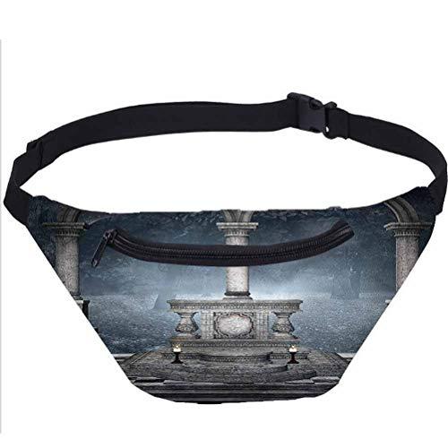 Gothic Fanny Pack,Roman Style Stone Altar Waist Bag for Men Women