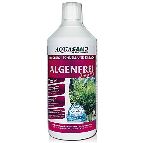 AQUASAN Aquarium ALGOLESS Algenfrei Plus (Aquarium Algenvernichter, Algenentferner - Gegen nahezu alle Algen - Bartalgen, Pinselalgen, Schmieralgen), Inhalt:1 Liter