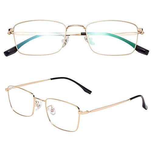 老眼鏡 軽い ブルーライトカット チタン合金 ケース付き メンズ レディース ゴールド 度数+1.50 L8232