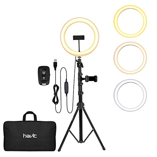"""LED Ring Light, Havit 12'' Selfie Ring Light with Tripod Stand (19""""-65"""") & Phone Holder, Bluetooth Remote Control and Carry Bag for Video Recording/Live Stream/Makeup/YouTube/Photography/Camera"""