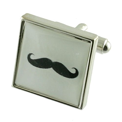 Moustache Boutons de manchette pour homme en argent sterling 925 massif Boutons de manchette + Boîte de message gravé personnalisé