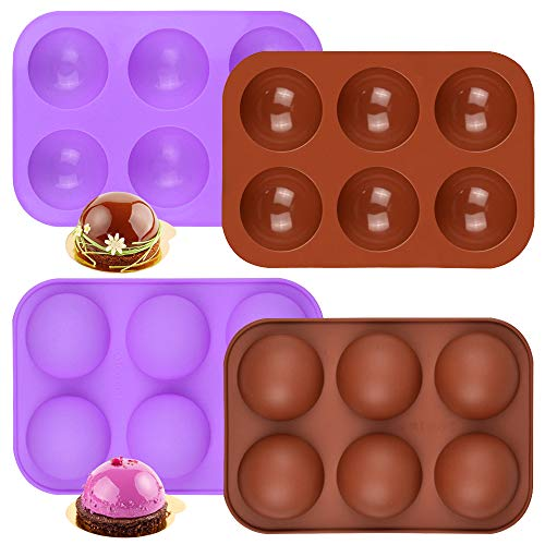 Sonku - Moldes de silicona semisesfera de 6 cavidades para hacer chocolate, pasteles, gelatina, pudín, mousse