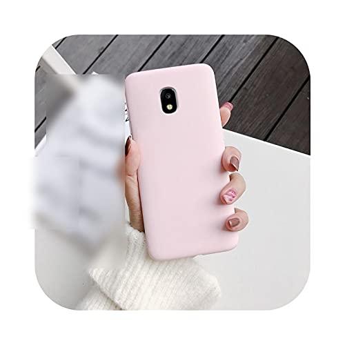 Color silicona teléfono caso para Samsung Galaxy J7 Pro J5 J3 2017 2016 2015 A6 A8 J8 J6 J4 Plus 2018 mate suave Tpu cubierta rosa claro-J8 2018