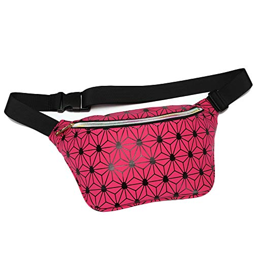 Riñonera X-BLTU Riñonera para Hombre Mujer, Riñonera Impermeable de Cuero PU de Moda para Fitness/Ejercicio/Senderismo/Escalada/Caza/Deportes al Aire Libre (Rosa Roja)