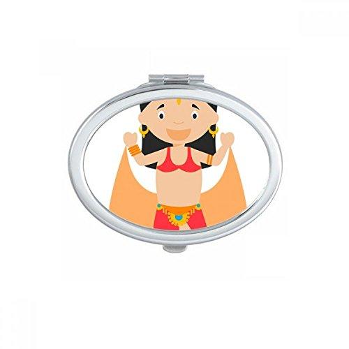 DIYthinker Traditionele Oosterse Danser Cartoon Ovaal Compact Make-up Pocket Spiegel Draagbare Leuke Kleine Hand Spiegels Gift