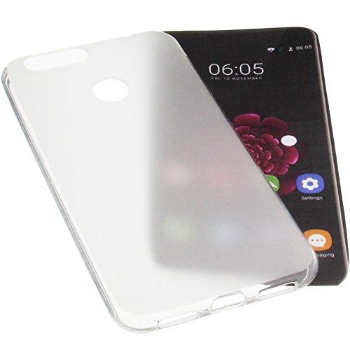 foto-kontor Tasche für Oukitel U20 Plus Gummi TPU Schutz Handytasche transparent weiß