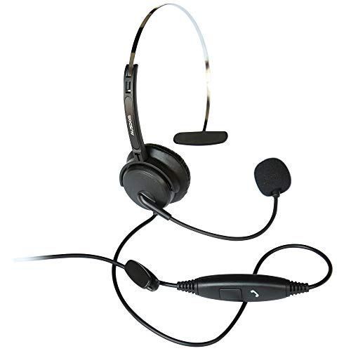AUSDOM BH01 Business Headset with Noise Cancelling Mic, 3.5mm Single-Sided Cell Phone Headset with Volume Control and Compatible for Laptop Computer MAC PC iPhone Samsung (Renewed)