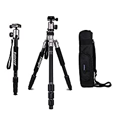 Fotopro Kamerastativ Komplett-Set mit Professional Stabiler Kopf, Klassisch Titanium, C5I