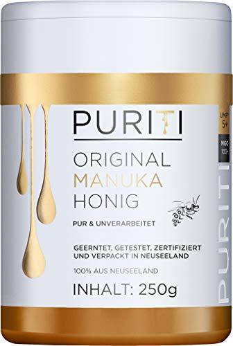 PURITI Manuka-Honig MGO 100+ 250g aus Neuseeland - zertifiziert, laborgeprüft, reines Naturprodukt, frei von Zusatzstoffen, Premium Qualität