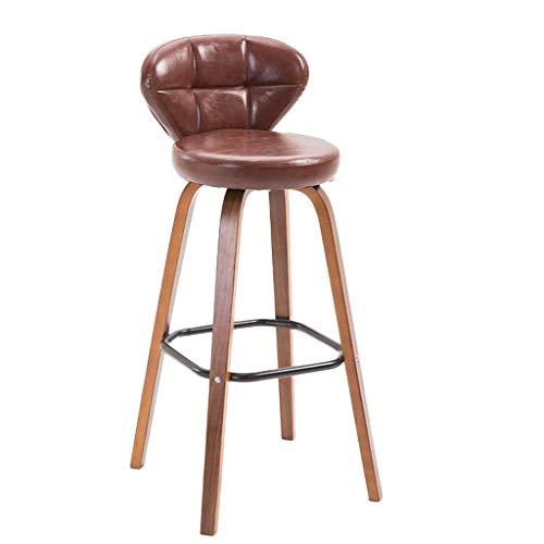 Taburetes de baraños para cocinas, silla de barra de madera maciza, silla de la PU doméstica Bar Taburete Silla alta Cafetería Cafetería Silla de comedor Bar Taburete Silla de recepción Silla alta Tab