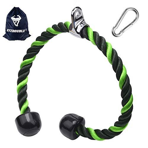 XYZDOUBLE Cuerda Tríceps Heavy Duty Tricep Rope Cable Pull Down Cuerda Equipo Nylon Manijas Antideslizantes - Dorsal, Biceps, Triceps, Gimnasio o Hogar Verde 70CM