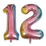 DIWULI, gigantische XXL Zahlen-Ballons, Zahl 12, Schillernde Regenbogen Luftballons, Zahlenluftballons, Folien-Luftballons Nummer Nr Jahre, Folien-Ballons für 12. Geburtstag, Party-Deko, Dekoration