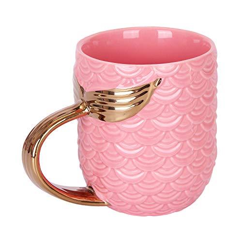 VanEnjoy 16 oz Cute Mermaid Tail Mug Romance Ceramic Coffee Mugs Cups Teacup, Bridal Shower Engagement Wedding Gift Favor (Pink)