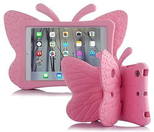 iPad case for Kids, Feitenn 3D Cartoon Butterfly Non-Toxic EVA Light Weight Kid Proof Shockproof case with Kickstand for ipad 5/ ipad 6 /ipad pro 9.7/ New iPad 2017 case ( Pink)
