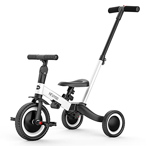 of toddler bike at walmarts newyoo 5 in 1 Toddler Tricycle with Parent Steering Push Handle for 1,2,3 Years Old Boys and Girls, Kids Push Trike, Toddler Bike with Removable Pedals, Adjustable Seat and Handle, White