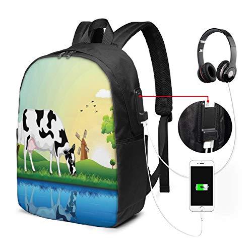 Usicapwear rugzak, grafisch ontwerp grazende koe in het veld met bomen in de buurt van meer en molen patroon