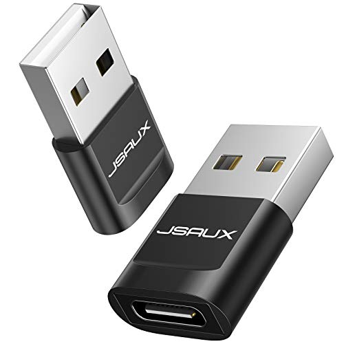 JSAUX USB C to USB Male Adapter, [2-Pack] USB C Female to USB A Male Charge Adapter Compatible for iPhone 11 12 Pro Max, Samsung S20/Note 8/S9/S8, Google Pixel 2/2XL, Huawei P20, Nexus 5X/6P - Black