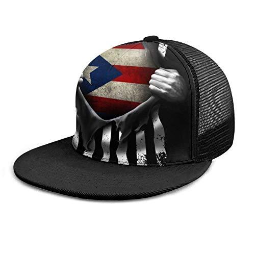 Baseball Cap Puerto Rico Flag Pull Apart Adult Unisex Fashion Baseball Caps Mesh Trucker Hat Adjustable Strapback Black