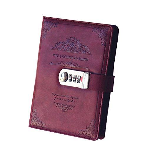 Morza Cuaderno de la Vendimia de la PU del Cuero Bloc de Notas personales Diario Diario de Notas de Organizador planificador Cuaderno con la Cerradura de la contraseña