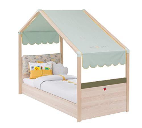 Cama Montessori con forma de caseta para niño o niña – Dimensiones: Ancho: 93 cm, Altura: 157 cm, Longitud: 185 cm, Para colchón 80 x 180 cm (mantas, almohadas y colchón no incluidos),