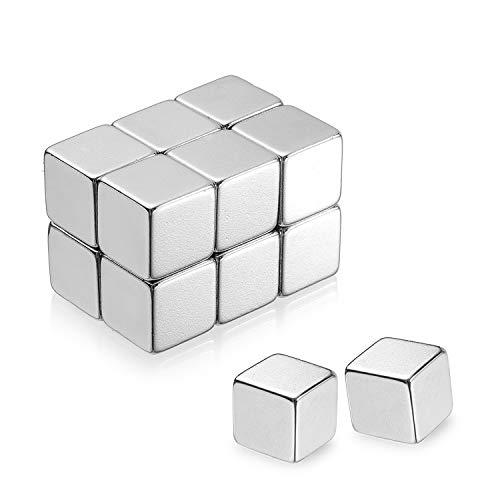 12 pièces aimants en néodyme cube extra fort ensemble, aimants cubiques pour tableaux magnétiques en verre pin board tableau blanc école professeur carte,avec conteneur de stockage (10x10x10mm)