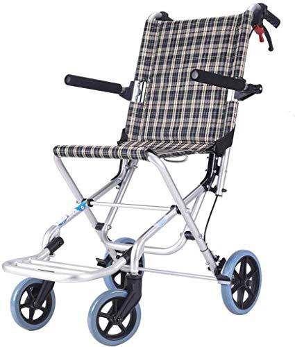 HONYGE LXGANG - Silla de ruedas plegable, ligera, ultraligera, fácil de viaje, aleación de aluminio, pequeño carrito para niños (color: rejilla de flores clásicas, tamaño: 88 x 52 x 74 cm)