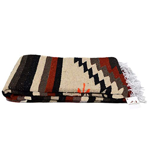 Open Road Goods Aztec Navajo Style Blanket, Throw, or Yoga Bolster - Handwoven Mexican Diamond Blanket Southwestern Style - Brown