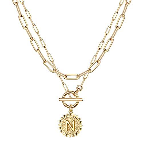 Domeilleur Gold geschichtete anfängliche Halsketten 14 Karat vergoldet zierliche Schicht Büroklammer Link Kette Halskette Alphabet Muster für Frauen Mädchen Geschenkschmuck