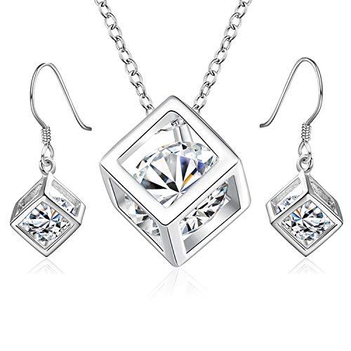 PPX Collar Largo y Pendientes Largos con Colgante de Cubo de joyería para Mujer, en Metal Precioso Cristal Redondo Dentro Cubo Fino Ideal como Regalo de cumpleaños o de Amistad
