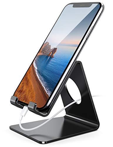 Supporto Telefono, Lamicall Dock Telefono - Universale Supporto Dock per iPhone 12 Mini, 12 Pro Max, 11 Pro Xs Max XR X SE 8 7 6 6S Plus 5S, HUAWEI, Samsung S10 S9 S8, Scrivania, Smartphone - Nero
