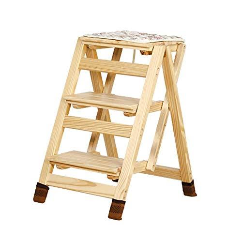 Z-STOOL Klappbare Trittleiter Aus Holz 3 Stufen Hocker for Erwachsene & Kinder Küchenleiter Kleine Fußhocker Tragbare Schuhbank, 41 × 57 × 65,5 cm (Color : C)