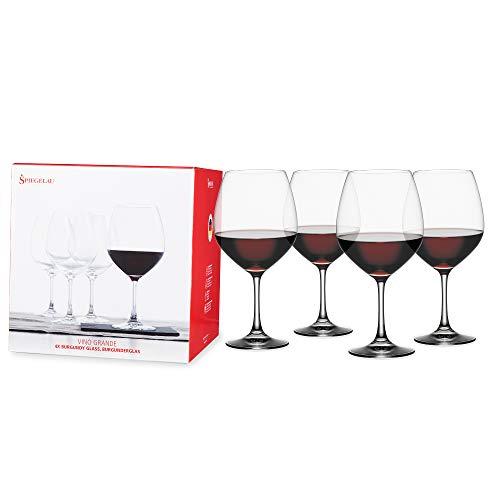 Spiegelau Vino Grande Burgundy, Set of 4 Stemmed Wine Glasses, 25 oz