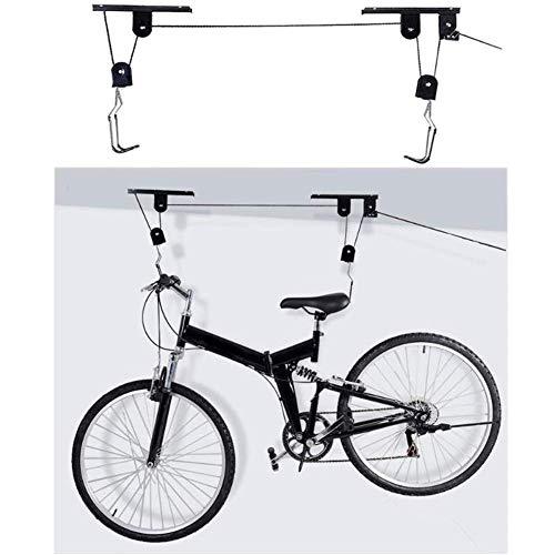 WYJW Fietslier, houder voor fietsgarage, gemonteerd op een riemschijfhouder, eenvoudig te monteren, 12 voeten, robuuste ophanging tot 55 lb, voor ladders, kajak