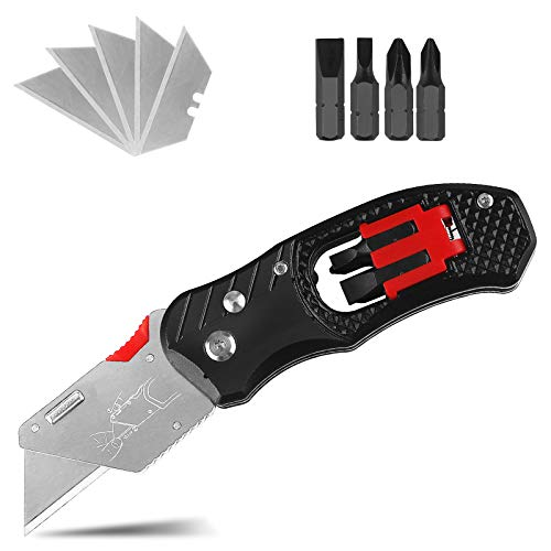 Folding Utility Knife, Professional Cutter Knife Multifunctional Sharp Lock Knife with Screwdriver, with 5 Replaceable Blades