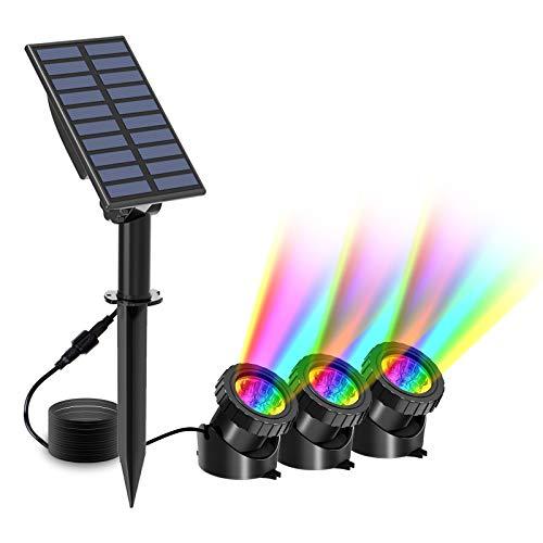 T-SUN Luces solares para estanques, 3 luces para estanques Lámpara sumergible 18 LED Proyector de luz RGB Cambio de color IP65 Foco solar impermeable para jardín al aire libre Patio Iluminación.