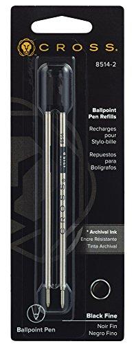 Cross 8514-2 - Recambio para bolígrafos y plumas con trazo fino (paquete de 2), negro